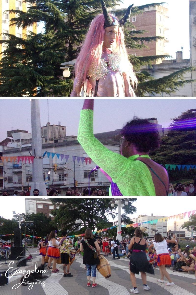 De arriba a abajo: Santa, drag queen azuleña, Fifí tango, cantante de tango y Tambores del Callvú, comparsa de candombe de Azul