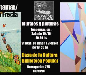 Inauguración de murales y muestra de Sergio Retamar y Ana Maria Frecia en la Casa de la Cultura, Biblioteca Popular de Banfield