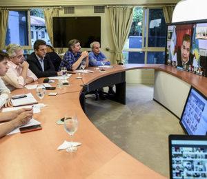 En video conferencia con intendentes Alberto Fernández analizó la situación social en los distritos